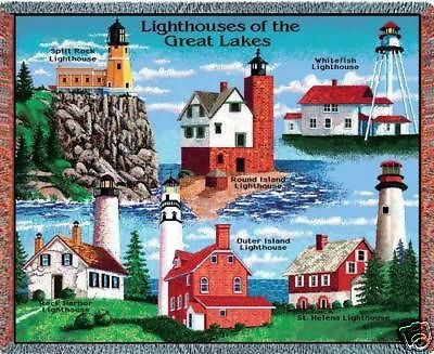 """""""Great Lakes Lighthouses Throw"""" This colorful cotton throw, woven on Jacquard looms, depicts famous landmark lighthouses of the U.S. Great Lakes. This makes a wonderful gift for the lighthouse enthusi"""