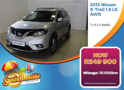 2015 NISSAN X-TRAIL 1.6 LE AWD | with 70 000km NOW R349 900 - Grab this special on a Pre-Owned X-Trail. Dealership located in Port Elizabeth.