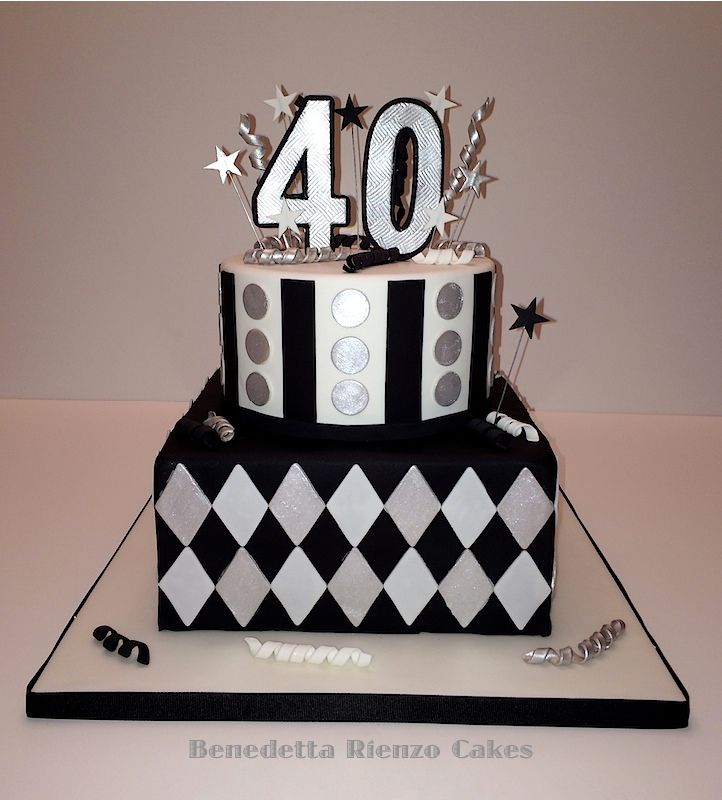 Silver Black And White 40th Birthday Cake