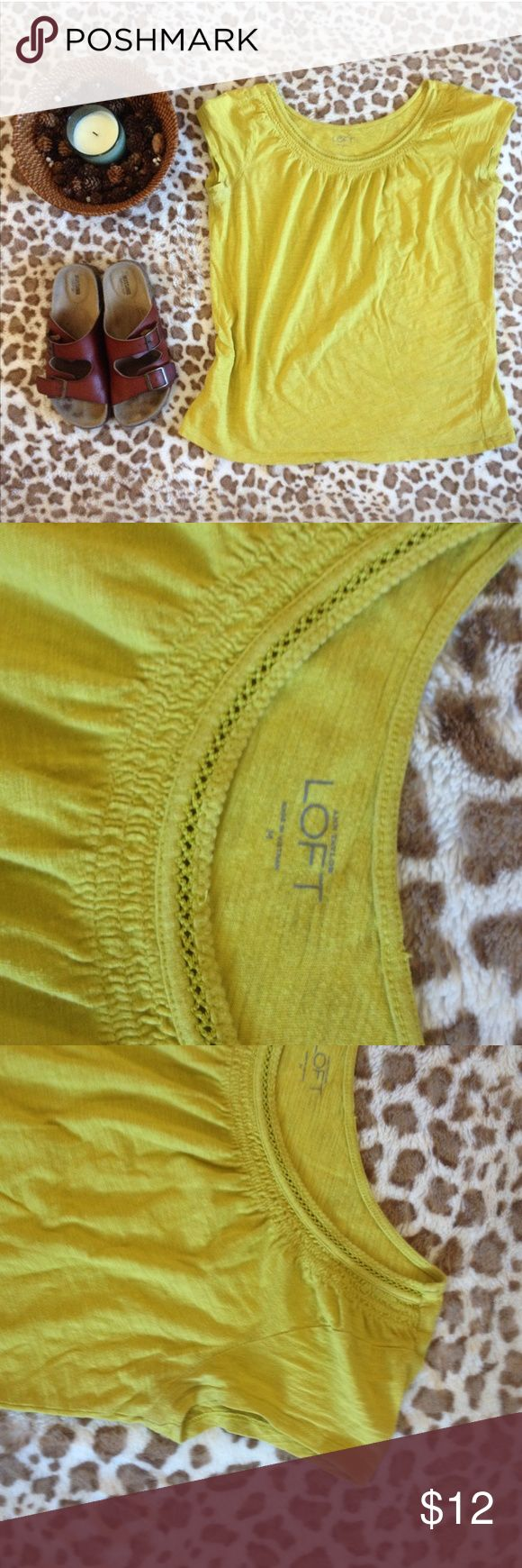 LOFT Lime Green Neckline Detail Tee Shirt Short sleeve tee by Ann Taylor loft lime green LOFT Tops Tees - Short Sleeve