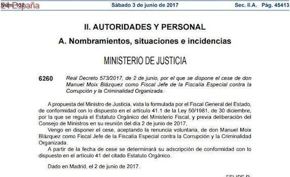 """El BOE publica el cese de Manuel Moix en el que no se le agradece """"los servicios prestados"""""""