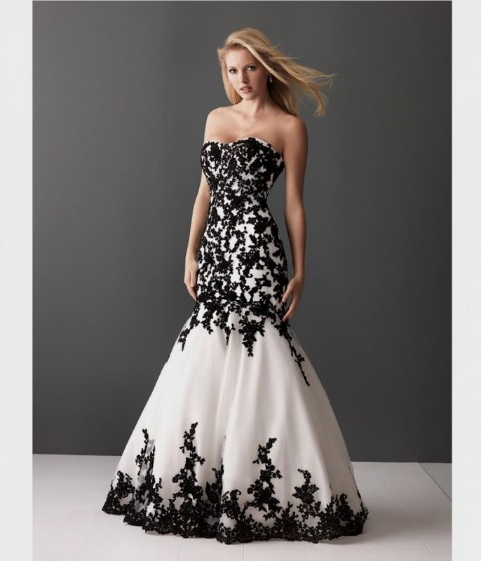 Be a Fashionable Bride with Black and White Wedding Dresses in Your Wedding Check more image at http://bybrilliant.com/176/black-and-white-wedding-dresses