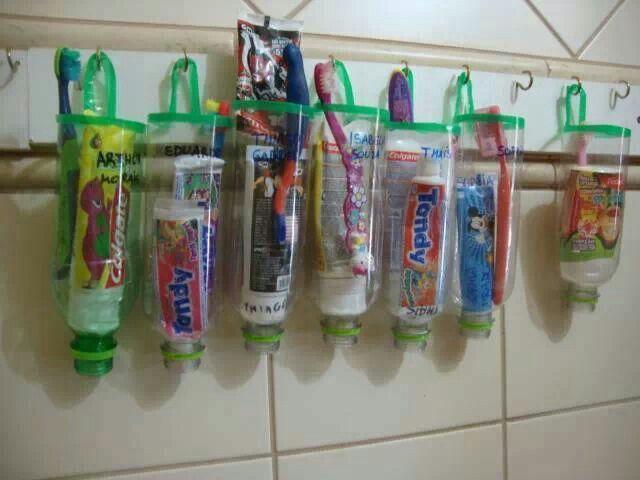 porta pasta de dente e escova recicle idéias