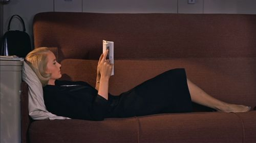 """EVE: """" I don't particularly like the book I've started"""". Eva Marie Saint in """"NORTH BY NORTHWEST"""" (1959)."""