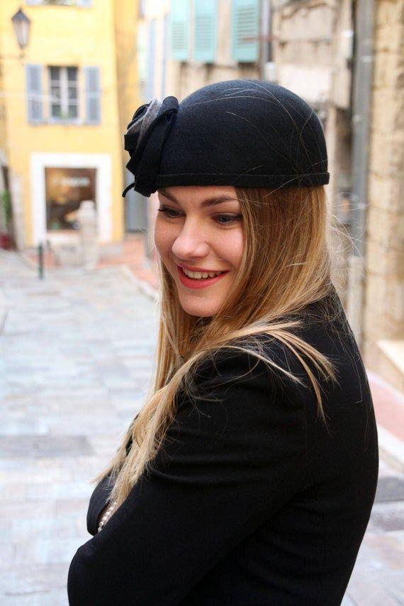 1920s hat, flapper hat, black hat, felt hat, skull cap, womens winter hat, elegant hat, gatsby hat, downton abbey hat, hats, womens hat, cap – Clothes