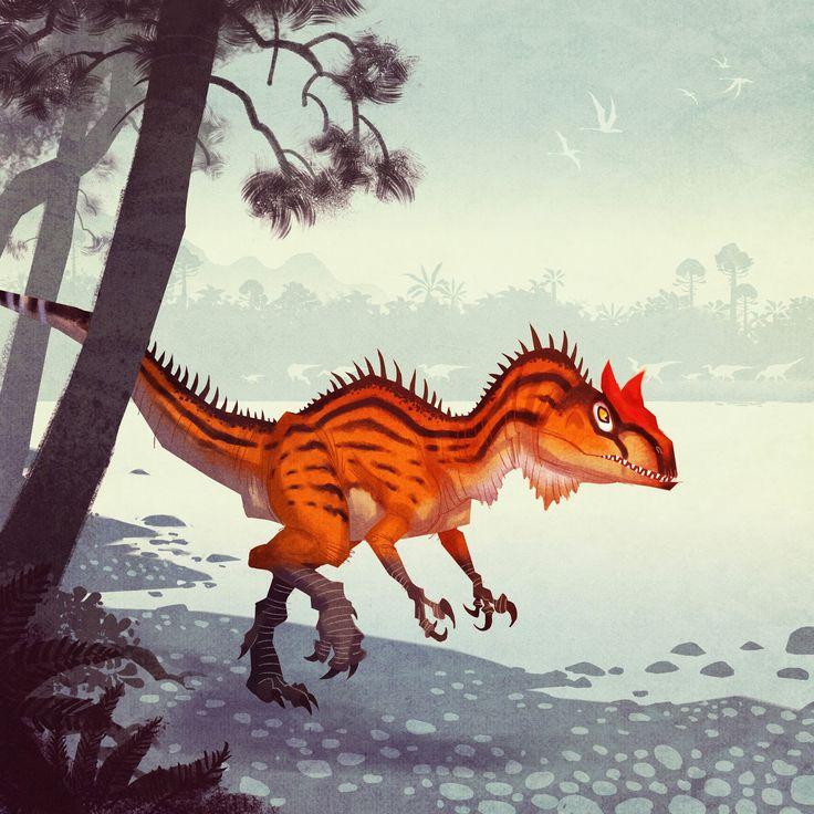 Allosaurus, Johan Egerkrans | Illustration from _Alla tiders Dinosaurier_ [_Dinosaurs of all ages_]