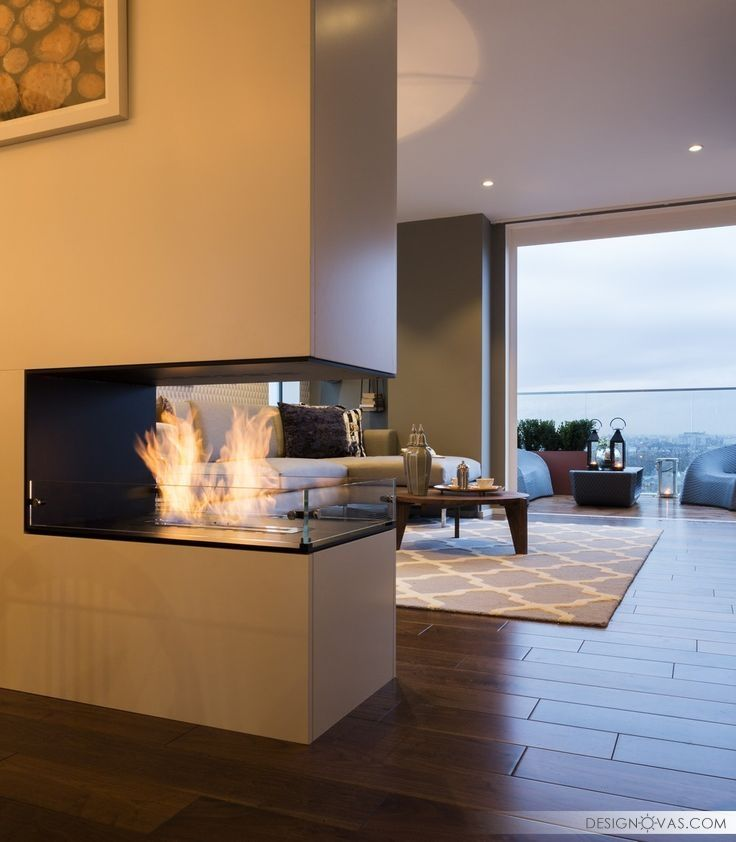 feature bespoke double sided fireplace the filaments penthouse collection suna interior design striking three bedroom duplex exuding a vivid personality in
