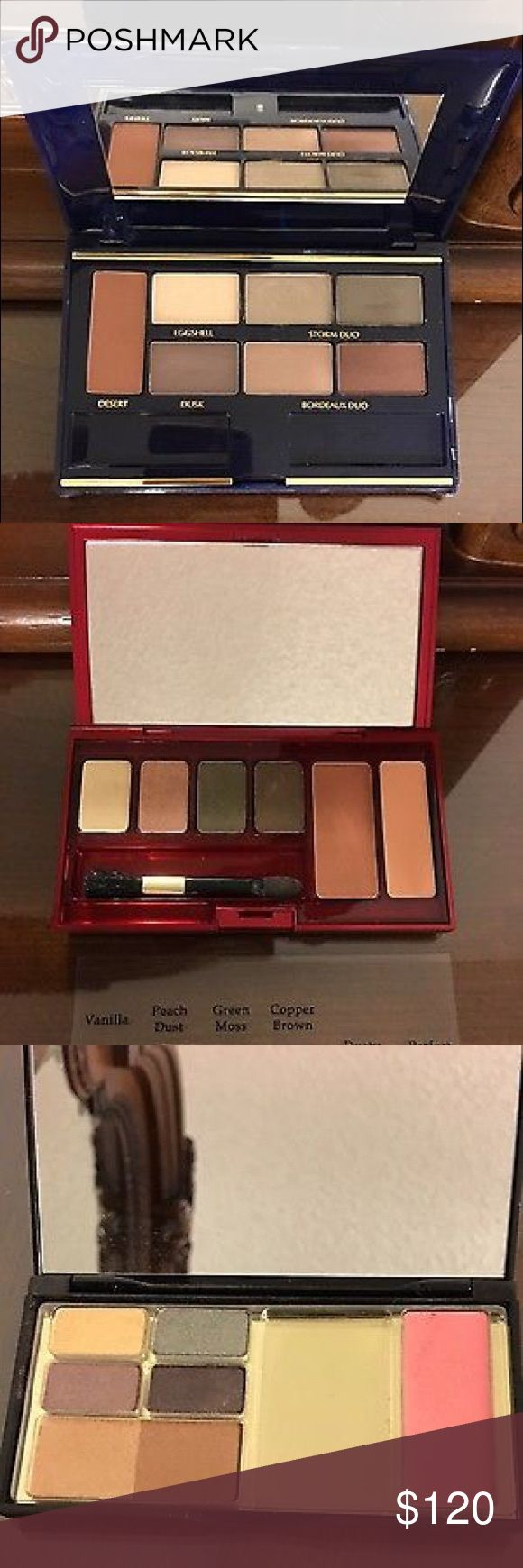 (6) HI END MAKEUP FULL SIZES ARDEN MAC LAUDER NEW LOT OF 6 NEW HIGH END FULL SIZE MAKEUP PALETTES SOME NEW, SOME TESTED. SEE PHOTOS & DESCRIPTION  2- ELIZABETH ARDEN MULTIPLE COLOR EYESHADOW PALETTES  1- ELIZABETH ARDEN SINGLE COLOR GOLD SHIMMER EYE POWDER 1- ESTEE LAUDER MULTI COLOR EYESHADOW PALETTE,  ONE OF THE COLORS TESTED ONCE 1- MAC NEW FORM PRESSED POWDER FACE BLUSH/BRONZER 1-MAC QUAD EYESHADOW PALETTE  ONE COLOR TESTED ONCE 1 COLOR BROKEN A LITTLE  AS SHOWN IN PHOTOS CASES HAVE…