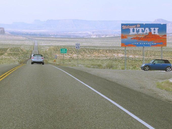 米国・ユタとアリゾナの州境にて。Border between Utah and Arizona, USA.