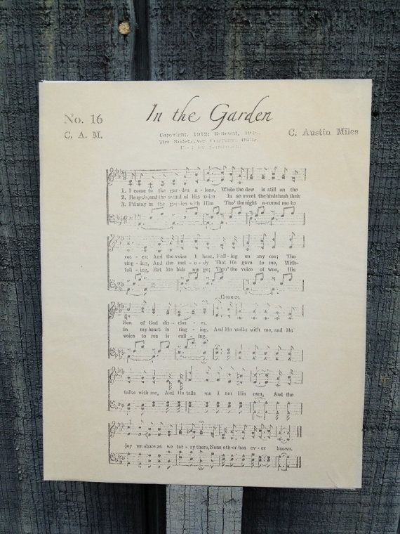 In The Garden Christian Hymn Sheet Music On By Thehymnshoppe Inspirational Pinterest