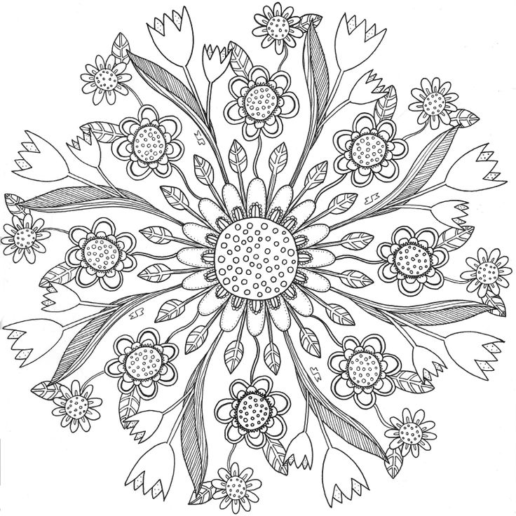 20150506 Colouring Book For Grown Ups Adults Coloring Black White Mustard Ljungeld Maria Floral Square