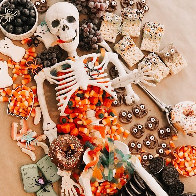 Candy Charcuterie Board With Skeleton, Halloween Food