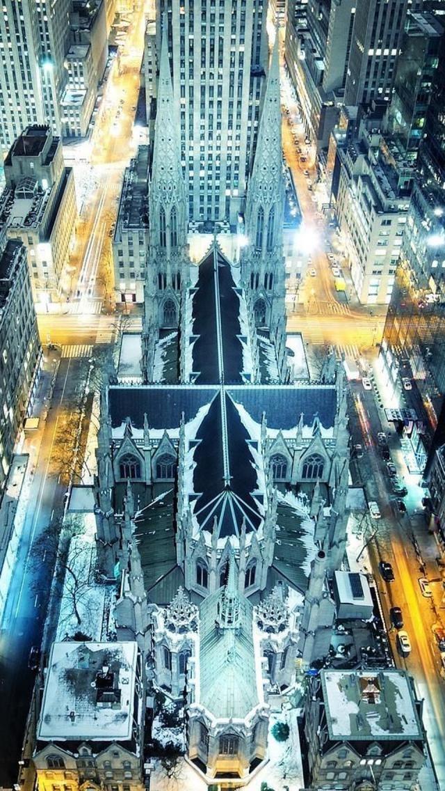 Aerial view~ NYC. St. Patricks Cathedral at night