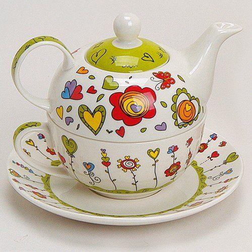 Teekannen-Set Tea For One Teekanne mit Tasse und Untersetzer Blumen / Herzen grün 17x13 cm im Geschenkkarton matches21 http://www.amazon.de/dp/B00B1RMPT0/ref=cm_sw_r_pi_dp_RzY4vb1EBB483