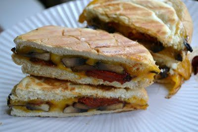 Balsamic Portobello, Roasted Pepper and Colby Jack Panini Sandwiches