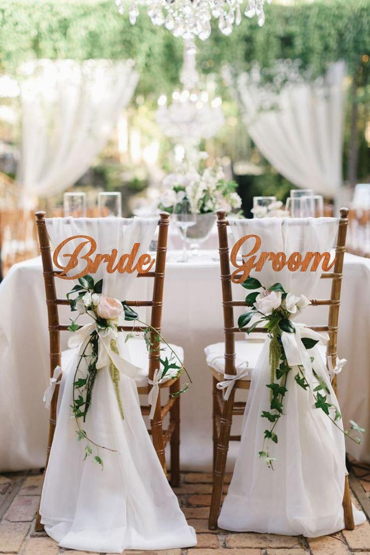 Wedding Chair Signs Bride and Groom Chair Signs wedding