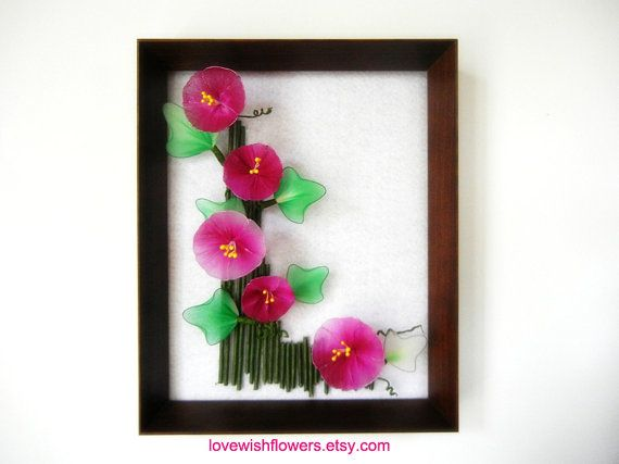 Wall art with 3D  Morning glory flower and leave. rose pink, purple, green,  handcraft nylon.  wood frame for home decor. Floral arrangement