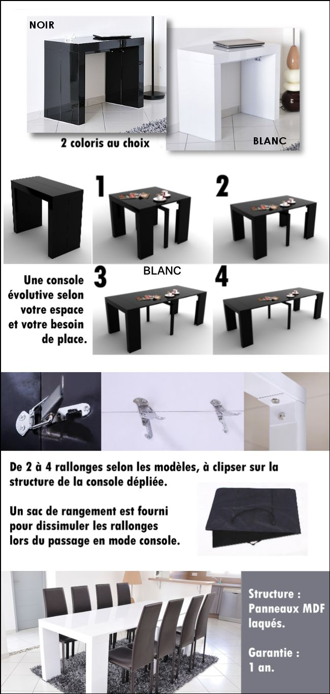 Les 25 meilleures id es de la cat gorie console extensible for Table extensible 4 8 personnes