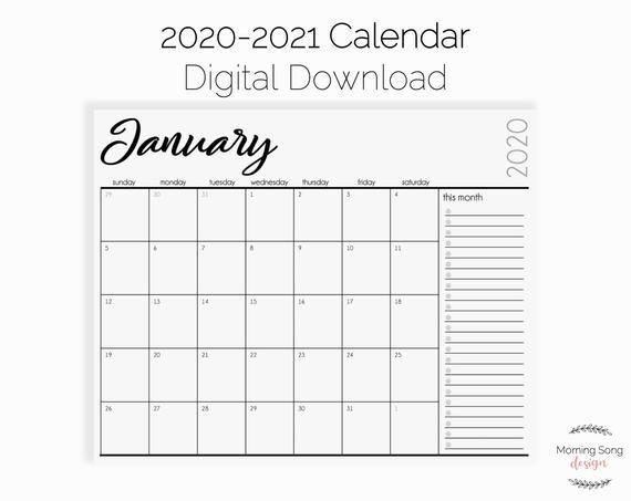 Printable Calendar 2020 2021 Digital Download Minimalist Letter