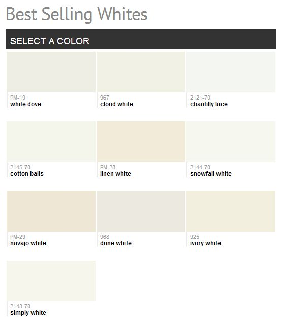 Benjamin Moore Best Selling Whites- cloud white is usually my fave- but I like the white dove or snowfall white better.