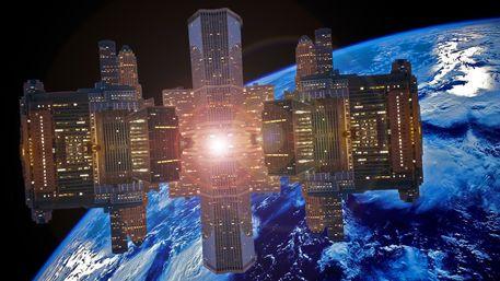 Orbit 4B - Von Niko Bayer, Raumstation, in Erdumlaufbahn, Leben im All, Kosmos, Weltraum, Stadt im Weltall, Himmel, Unbegrenztheit, Universum, Raum, Erdkugel, Erde, Sience Fiction, Zukunft, Vision, Ausblick