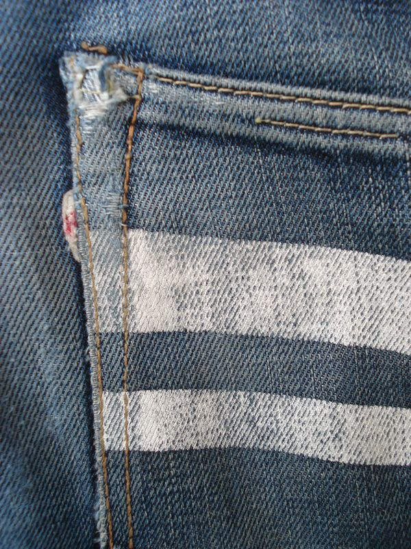 momotaro japanese denim. white lines are symbol of japanese tradition