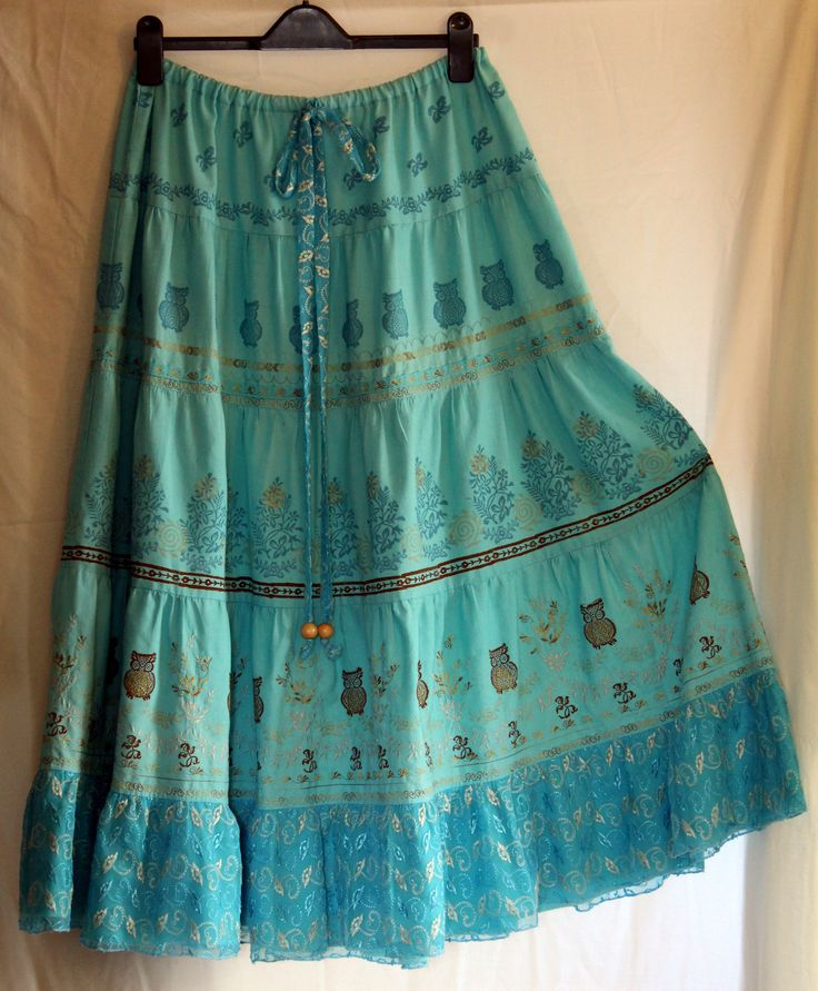 Tiered skirt made from recycled bed sheet. Dyed, embroidered and block printed. Anne Waller #recycling #skirt #blockprint