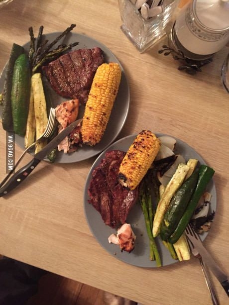 8 oz. rib-eye, dry rubbed with salt and pepper, grilled to medium rare with grilled asparagus, zucchini, onions and corn.