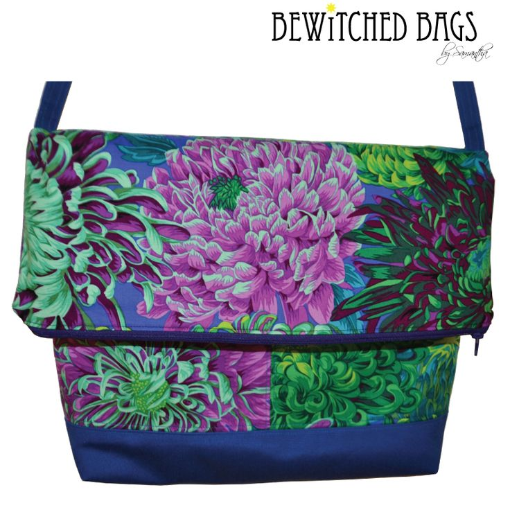 Bright and Bold Make a Statement with this Designer Hand Made HandBag in Kaffe Fasset Fabric combined with Marine fabric, fold over top with zipper access