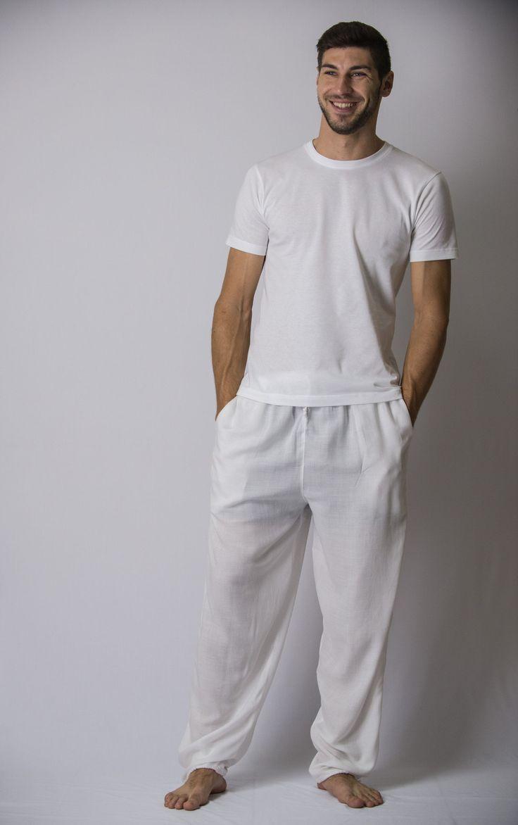 Solid Color Drawstring Men's Yoga Massage Pants in White