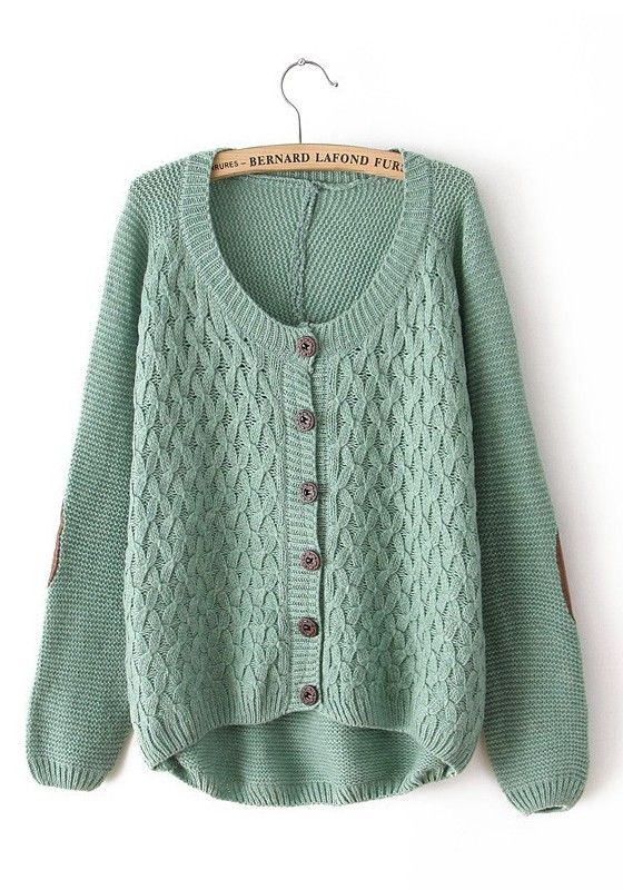 Pea-Green Cross Print Round Neck Cotton Blend Cardigan