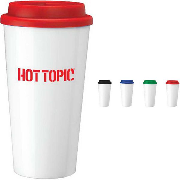 """Take your joe to go with this vibrant, versatile tumbler! Our 16 oz. 'Wizard' plastic mug measures 3 1/2"""" x 7"""" and features double wall construction with insulation. Customize with an imprint of company's name or logo and hand out at your next convention or tradeshow! A great promotional product for travel agencies or insurance companies. Ideal for those that are always on the go! Please note that item is not for use in dishwasher or microwave."""