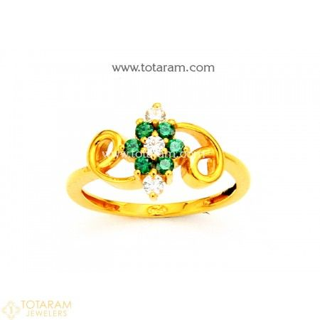 22K Gold Ring For Women with Cz & Color Stones - 235-GR4211 - Buy this Latest Indian Gold Jewelry Design in 3.200 Grams for a low price of  $212.00