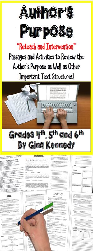 Author's purpose reteach and intervention passages! Great for extra practice to reinforce this important reading skill as well as practice on such important text structures as summary, theme, character traits, cause and effect and more. Perfect for guided reading, test prep or small group intervention.  CCSS and STAAR Aligned!$