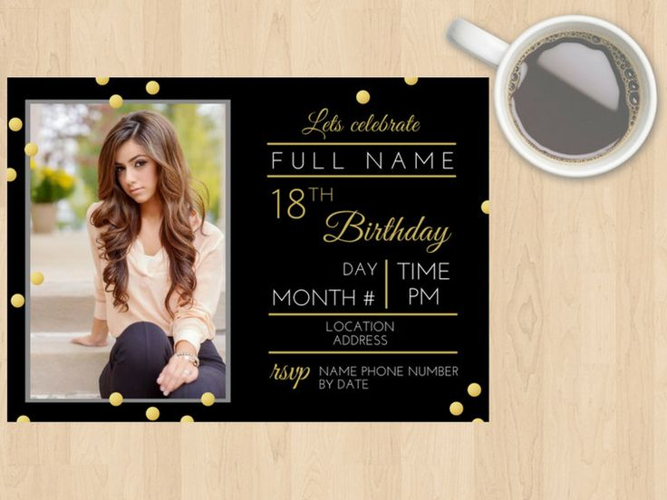 Digital Download 16, 18, 20, 21, 30, 40, 50, 60, 70, 80, 90 ect Birthday Invitation Gold, Black, White, Glitter, Modern, Photo, Customisable by DesignsByMoniqueAU on Etsy