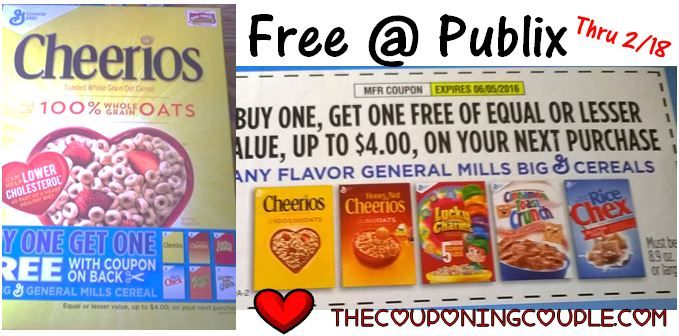 Look for BOGO Coupons on Cereal Boxes and then get FREE Cheerios at Publix!  Click the link below to get all of the details ► http://www.thecouponingcouple.com/bogo-coupons-on-cereal-boxes-free-cheerios-at-publix/  #Coupons #Couponing #CouponCommunity