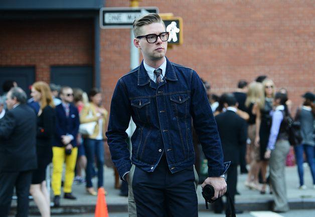 Just denim!Fashion Weeks, Denim Menswear, Jeans Jackets, Street Style, Men Fashion, Denim Jackets, Hair Ties, New York Fashion