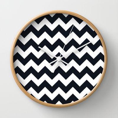 Chevrons Black & White Wall Clock by Julie's Thingummies - $30.00