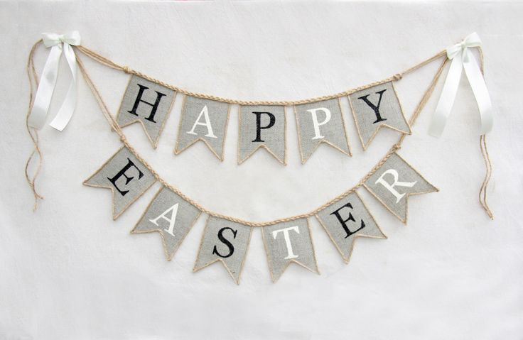 Happy Easter Banner, burlap happy easter banner, happy easter  sign, Easter decor, happy Easter bunting, easter banner by HameleonShop on Etsy https://www.etsy.com/listing/222692037/happy-easter-banner-burlap-happy-easter
