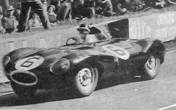 Mike Hawthorn in Jaguar D-type No 6 leads during Le Mans 1955