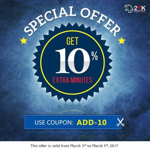 Special #CallingOffer - Get 10% Extra #InternationalCalling Minutes From USA and Canada - http://www.2yk.com/emails/2YK-Happy-weekend-03-march-2017.html  #ChaepCalls  #InternationalCall #HowToCall #CallingCard