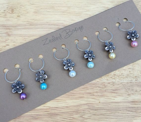 Wine Charm Set Silver Wine Glass Charms Wine by ZealandBoutique