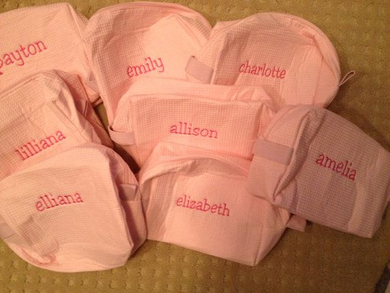 KIDS SPA Sleepover Party FAVOR Personalized Monogrammed Cosmetic Bag - Custom Embroidered on Etsy, $11.00