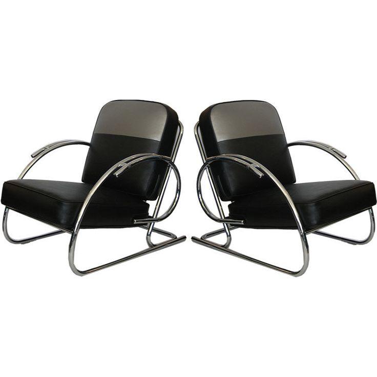 Pair of Streamline Moderne Art Deco Tubular Chrome Chairs  United States  1930's