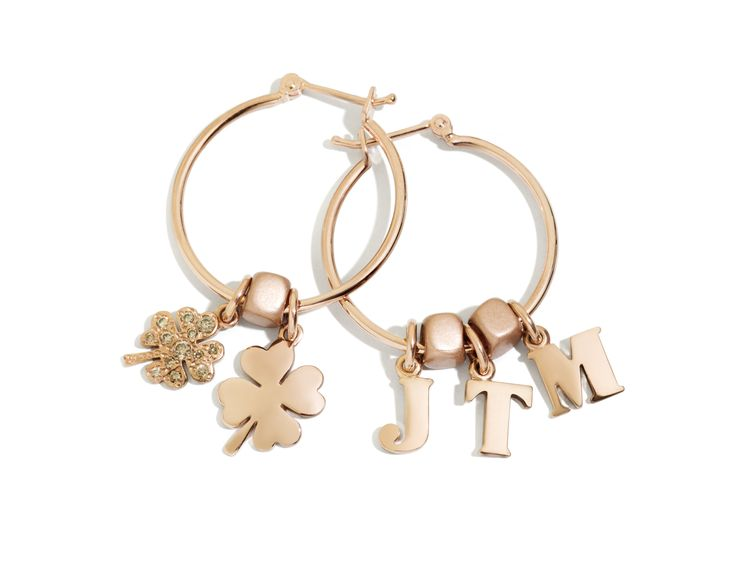 JTM like je t'aime! Completely in love with these Dodo rose gold Letterine and four leaf clover earrings.