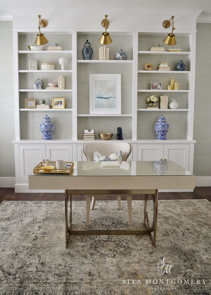 Custom Built Ins With Adjustable Shelves For Office Organizing Sita Montgomery Interiors