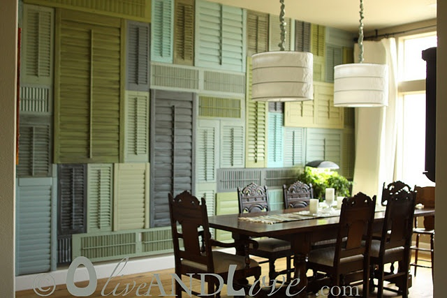 Shutter wall!: Dining Rooms, Idea, Dream, Shutter Wall, Shutters, Olive, Dining Room Chairs