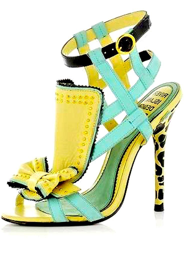River Island. Neon Yellow and Seafoam Heels.