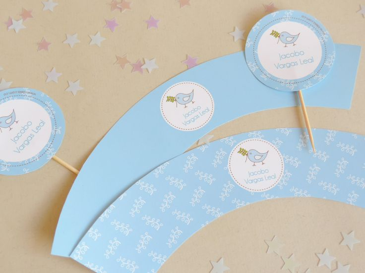"""Toppers y capacillos para cupcakes """"Pajarito azul en rama"""""""