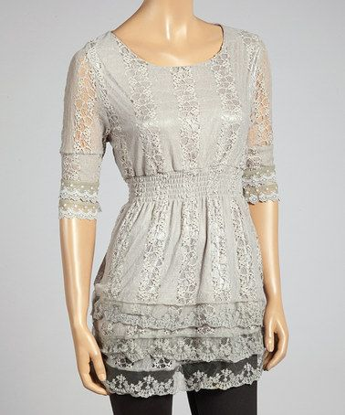 Week-end Sale Look what I found on #zulily! Gray Shirred Lace Top - Women http://www.zulily.com/?SSAID=930758&tid=acceleration_930758 #zulilyfinds